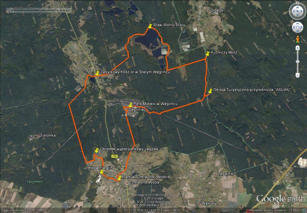 Mapa trasy Tropami przyrody Borów Dolnośląskich 2015